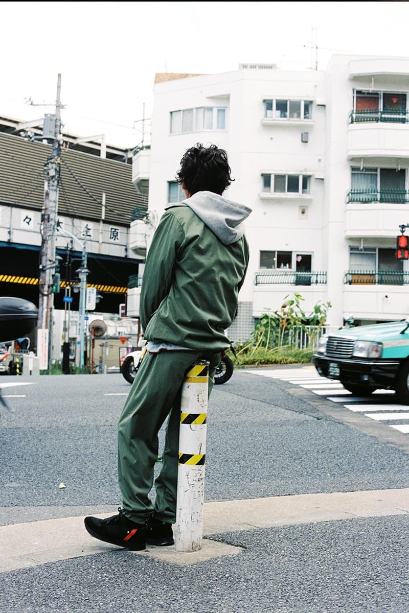 PHINGERIN Spring/Summer 2019 Lookbook camouflage vest Japan accessories sweat sweatshirt sweatpants trousers jacket outerwear baghead hats red pants tee tshirt silk tang suit jacket bomber