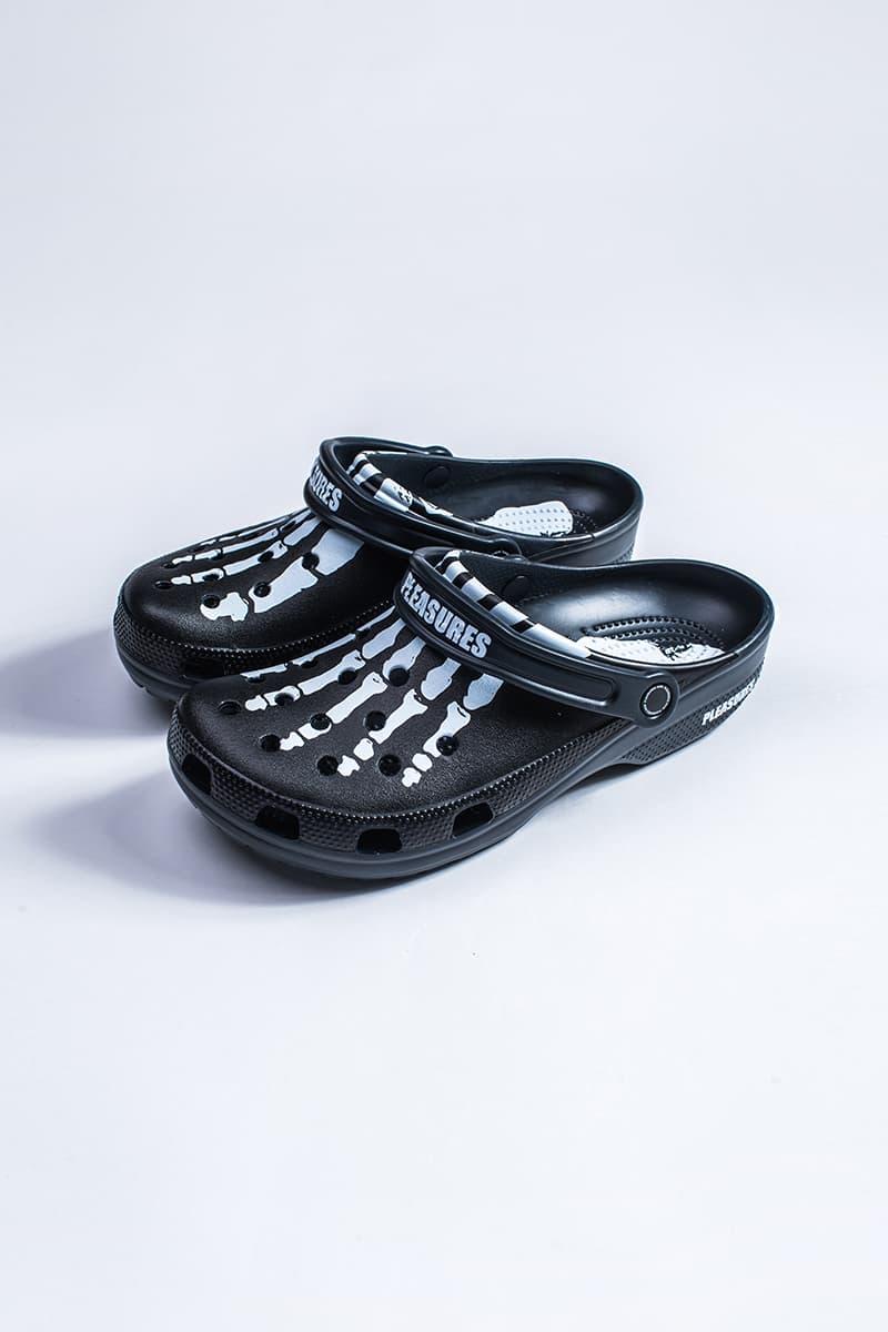 PLEASURES Crocs Collaboration Release Date black white 2019 footwear sneakers bones graphics skeleton open-toe summer rubber Alex James