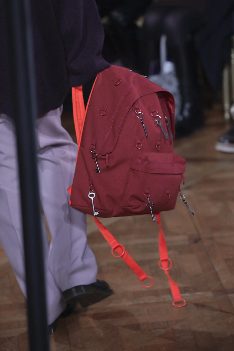 Raf Simons Eastpak Fall Winter 2019 Collection Closer Look backpack ring black pink beige charms David Lynch 1986 Blue Velvet Paris Fashion Week Mens