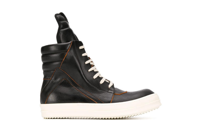 Rick Owens Modernizes Classical High Top Models sneakers black orange gray green beige sand info prices images farfetch babel geobasket calf leather footwear grunge goth footwear sneakers high-top