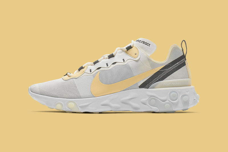 Nike Element React 55 Yellow Swoosh Release Info BQ6166-101 pale gray white sportswear shoe sneaker drop date pricing info