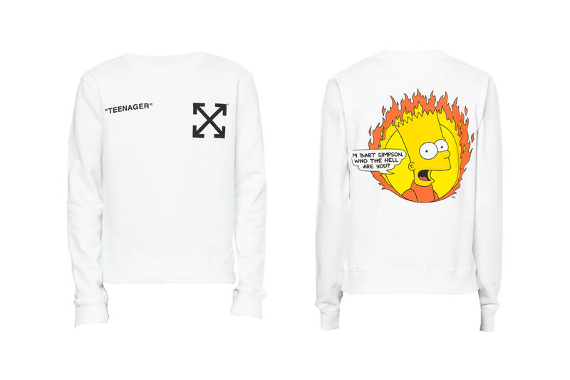 The Simpsons Off White Spring Summer 2019 Release Info T shirt Sweater white public enemy homer peace sign who the hell are you teenager