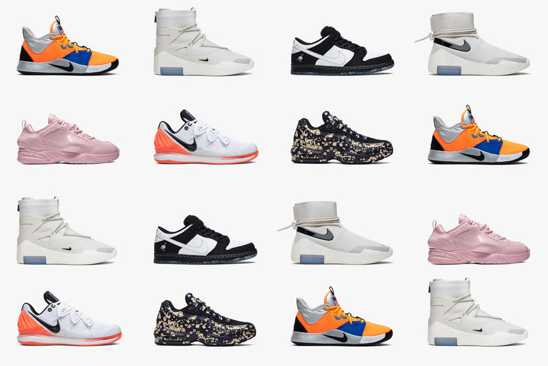 Top Nike Collaborations of 2019 on GOAT pink light bone red orange green kyrie swoosh jerry lorenzo martine rose fear of god shoot around sb pg 3 nikecourt zome vapor air max 95 goat