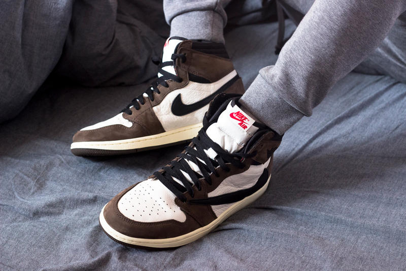 bbbaf85608937c Travis Scott Air Jordan 1 Cactus Jack On Foot DJ Khalid white black brown  backwards swoosh