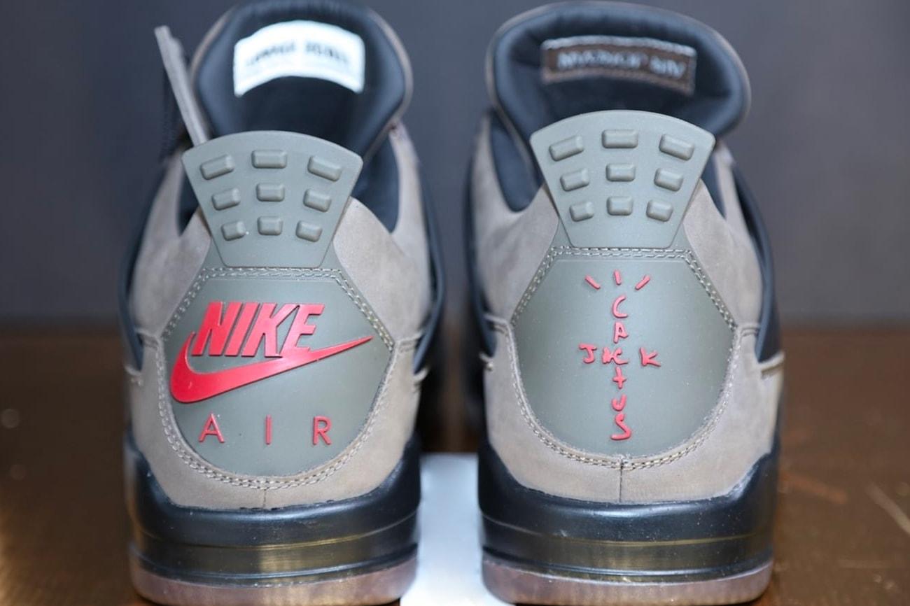 d819bb5f99 ... Travis Scott Air Jordan 4 Olive Closer Look sneaker release Info Date Cactus  Jack Brand Brown