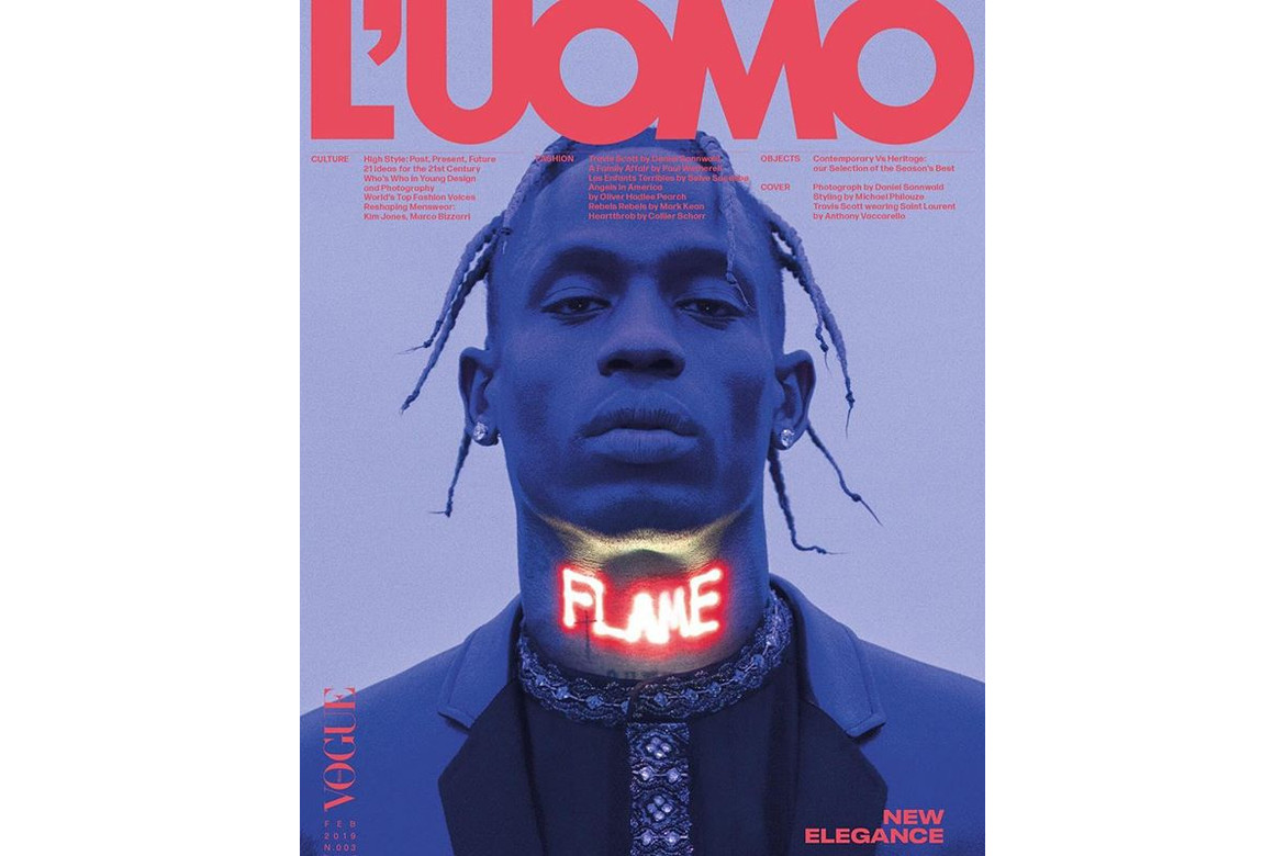 3a43a38a899f Travis Scott Covers Latest Issue of 'L'Uomo Vogue' Magazine