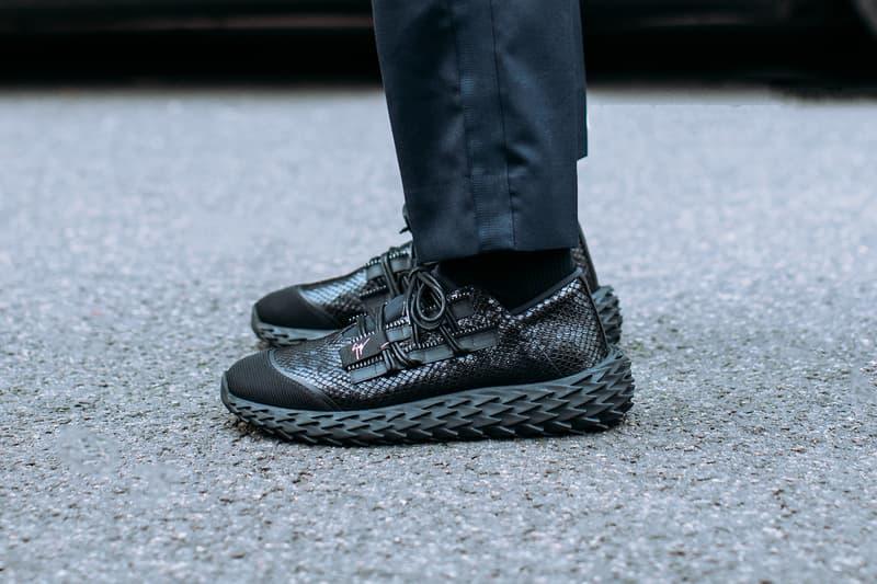Giuseppe Zanotti Urchin Sneaker Snakeskin Black and White 2019