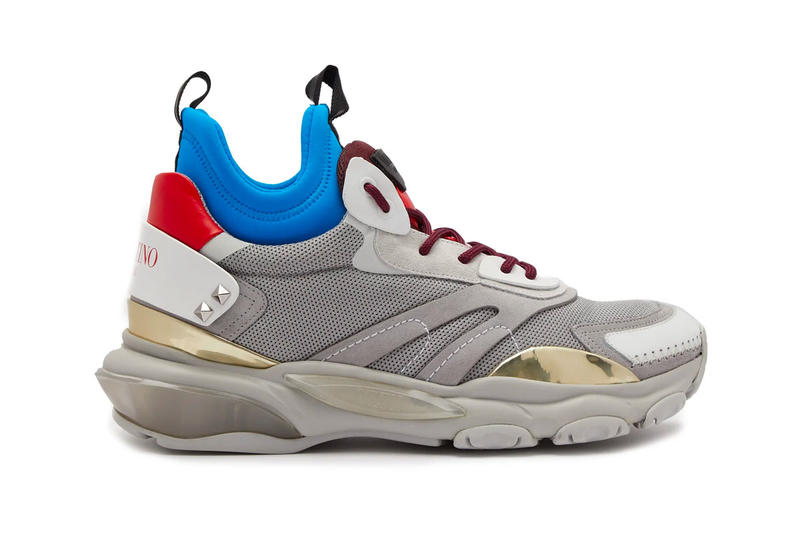 Valentino Raised Bounce Trainer Release Info grey white blue red MATCHESFASHION