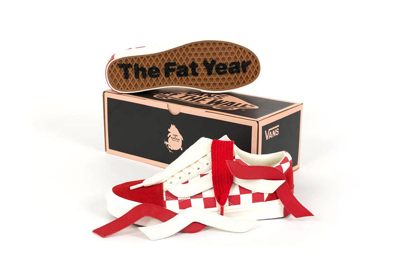 "Purlicue x Vans ""Year of the Pig"" Era & Old Skool Red White Checkerboard Pig Big Branding Tags Laces"