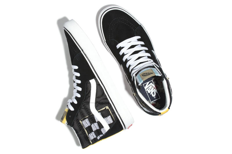 Vans SK8-Hi Mixed Quilting Release Info Date Black True White Yellow Blue Checkerboard exposed padding stitching nylon banding