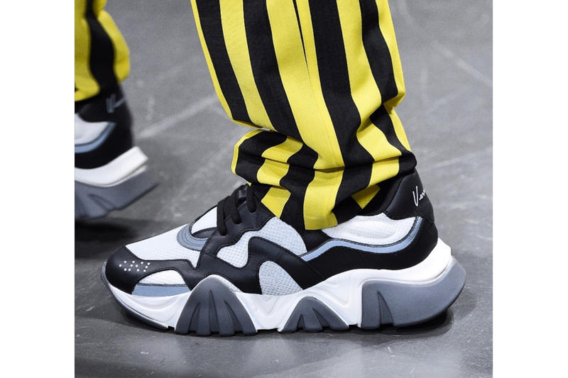 Versace footwear sneaker trainer fall/winter 2019 white black blue gray leather mesh teaser look first look