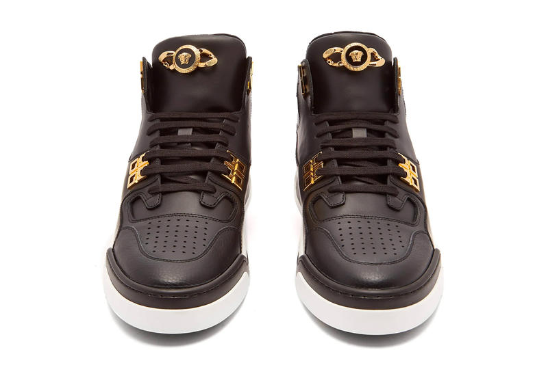 Versace Medusa Embellished High Top Sneaker Release White Blue Black Gold matchesfashion.com Head Info