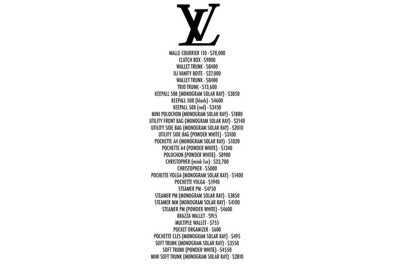 dff57373ce61 Virgil Abloh Louis Vuitton Spring Summer 2019 Collection Price List. 2 of 5