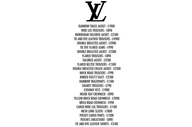 Virgil Abloh Louis Vuitton Spring Summer 2019 Collection Price List