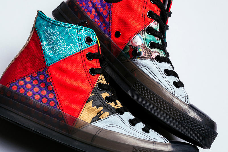 Converse Chuck 70s Patchwork Hi Bright Crimson sneaker feature boutique release