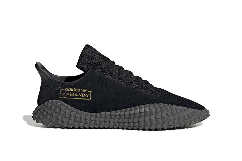 adidas Kamanda Drops Triple Black Colorway Suede leather mesh gold foil  football silhouette sneaker oldschool classic 6663445e0