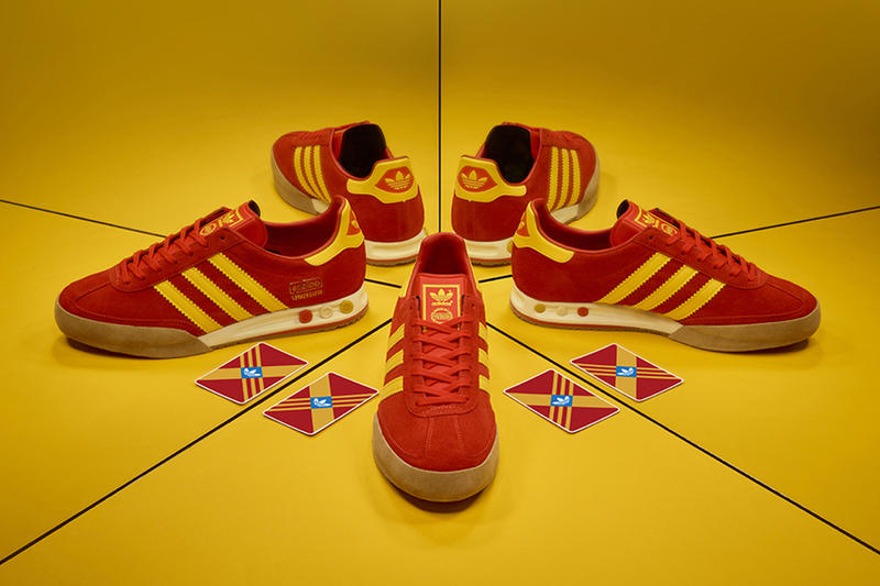 size? adidas originals kegler super red yellow japan exclusive archive classic casual sneaker footwear