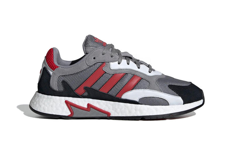 7de6ae8fe49 A grey   scarlet option will release alongside a black iteration with  multicolored Three Stripes.
