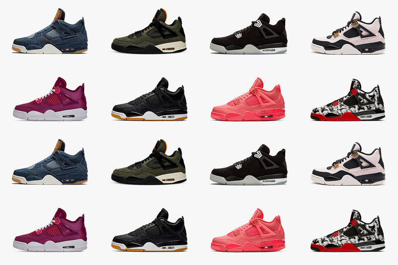 GOAT Celebrates the AJ4's 30th Anniversary sneakers jordan bulls years birthday eminem marshal mathers undefeated basketaball red black white silt green pink punch denim levis olive carhartt pink gold silverfor the love of the game laser