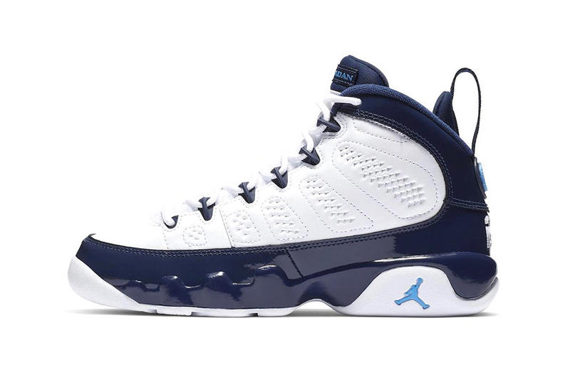 "Air Jordan 9 ""UNC"" Available on StockX midnight navy white black jumpman university blue michael tarheels college 2019 nba all-star weekend"