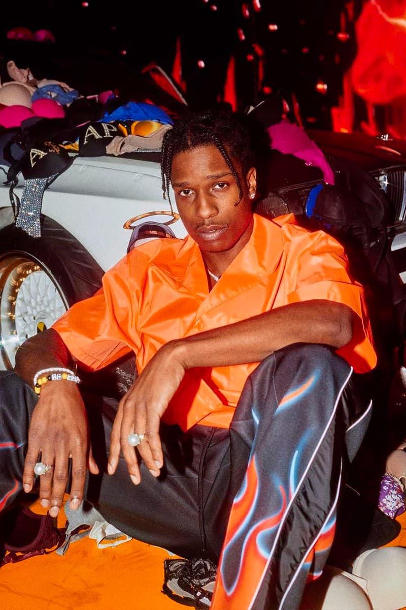 A$AP Rocky Injured Generation Tour Custom Prada asap vests testing vest down turtleneck flame tracksuit tailored shirting matthew henson awge
