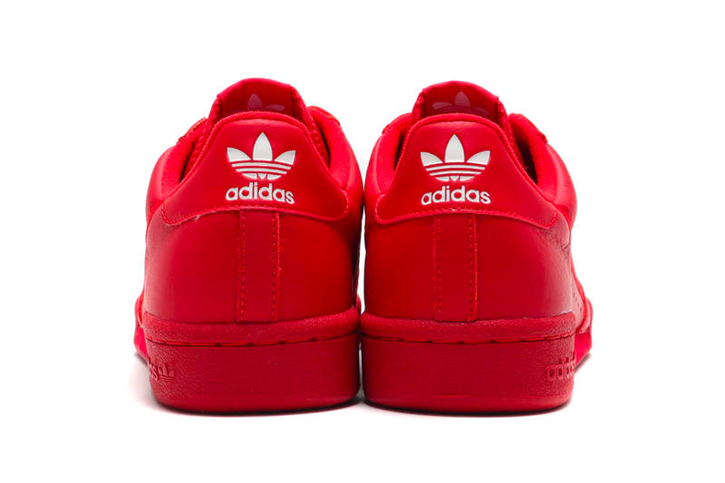 "adidas Contintental 80 ""Scarlet"" atmos Exclusive release info drop price stockist february 23 $80 leather red three stripes 3 treefoil"