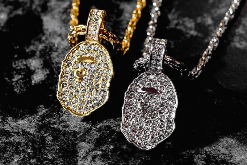 BAPE Rhinestone APE Head Ring & Necklace Jewelry gold silver accessories