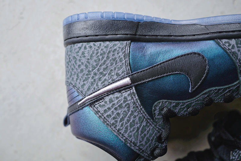 "Black Sheep x Nike SB ""Black Hornet"" Closer Look dunk high leather gradient iridescent cracking"