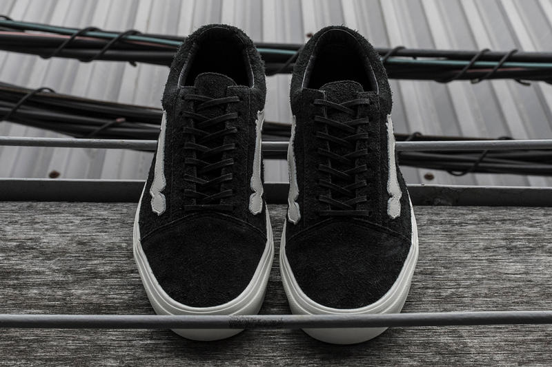 b2e279350a Blends Vans Vault Old Skool COMFYCUSH LX First Look Sneaker Bone Jazz Stripe  hair suede black