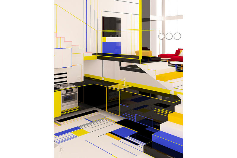 Brani & Desi Unveil Their Design of a Mondrian-Inspired Interior black white blue red yellow images info architecture