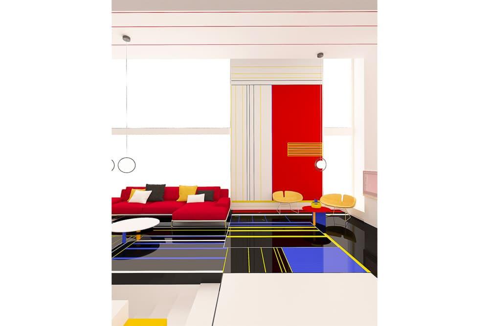 Brani & Desi Unveil Their Design of a Mondrian-Inspired Interior black white blue red yellow images info architecture