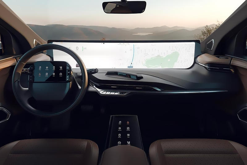 This Tesla Competitor Wants You to Consume Media byton m-byte suv huge screen binge watch netflix podcasts movies music games chinese ev company 325-mile range 95 kwh battery 48-inch screen widescreen