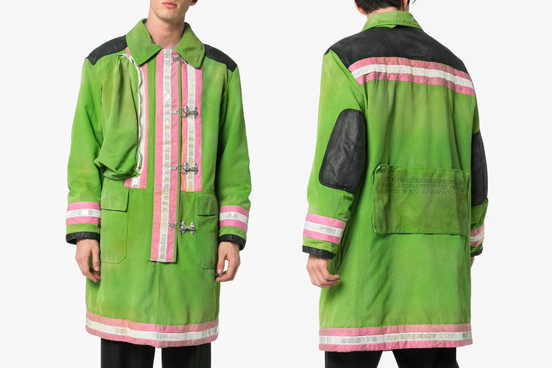 Calvin Klein 205W39nyc Unveils Its Non-Conventional Take on New Fireman Raincoat pink white green images price release drop info apparel browns menswear