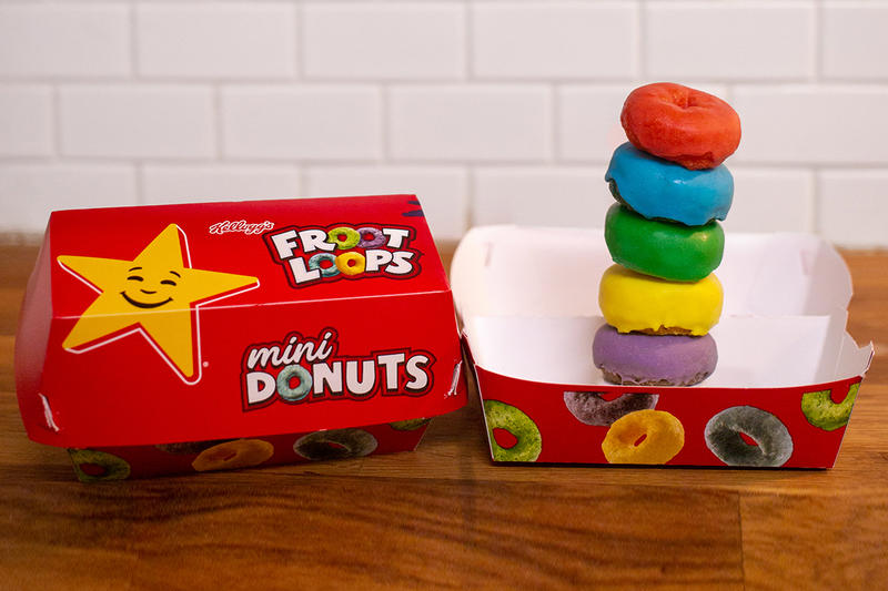 Carl's Jr. Hardee's Froot Loops Mini Donuts 2019 Relaunch Kellogg's Red Blue Green Yellow Purple Cereal