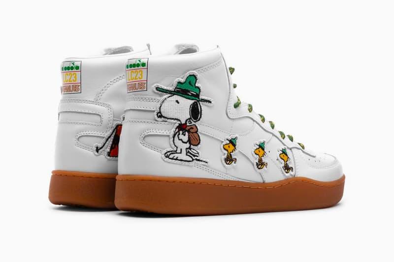 Diadora Unveils Collaborative B. Elite and Mi Basket with Peanuts drop release date images price white footwear snoopy charlie brown woodstock linus van pelt