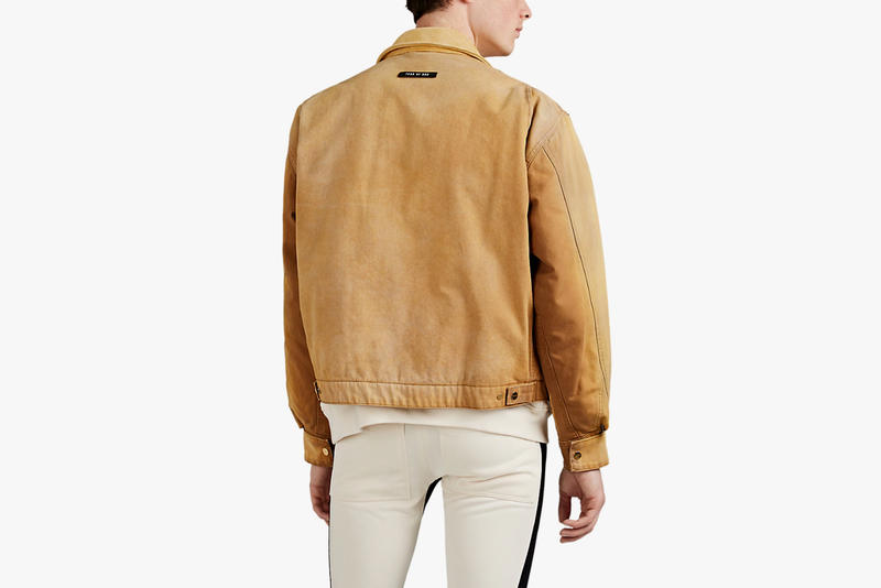 fear of god cotton canvas suede work jacket barneys release