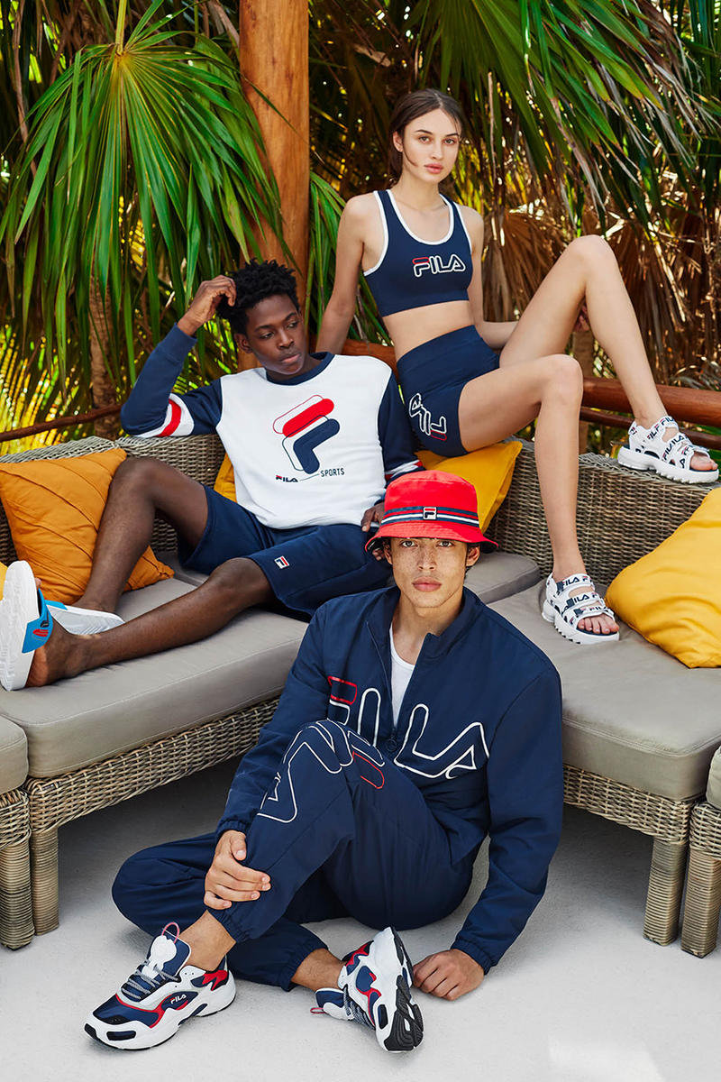 FILA Spring Summer 2019 SS19 Heritage Lookbook First Look Logo Tracksuit Print