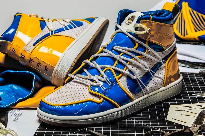 dfa44f195c6 Golden State Warriors Nike Collaboration Teaser Air Jordan 1 Force Dunk  Blue Gold Stephen Curry