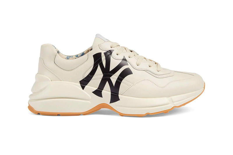 Gucci Rhyton Sneaker Receives NY Yankees Print white dad sneakers release drop date price images info footwear new york major league baseball farfetch