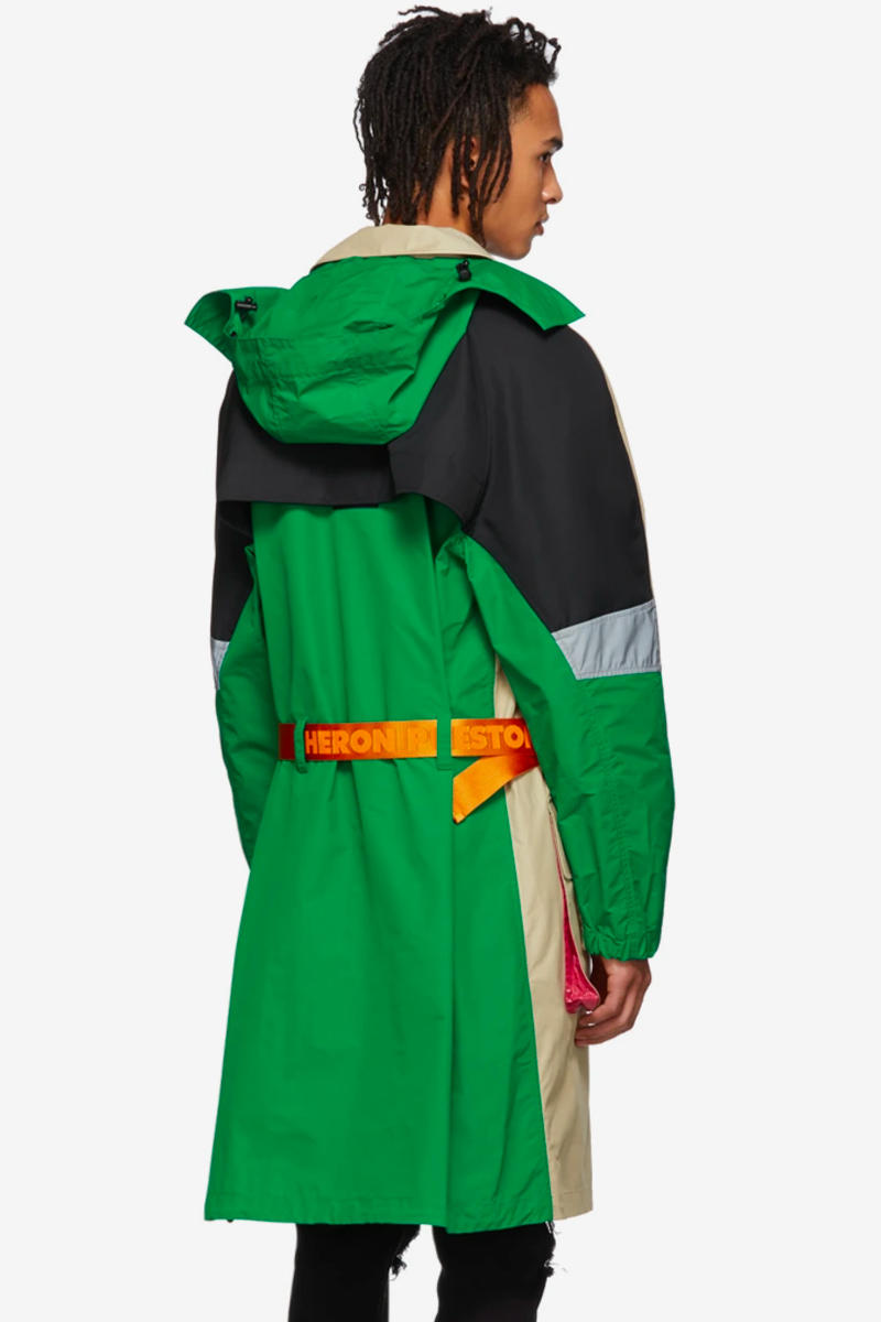 Heron Preston Multicolor Trench Coat Release Red Green Orange beige SSENSE Spring Summer 2019
