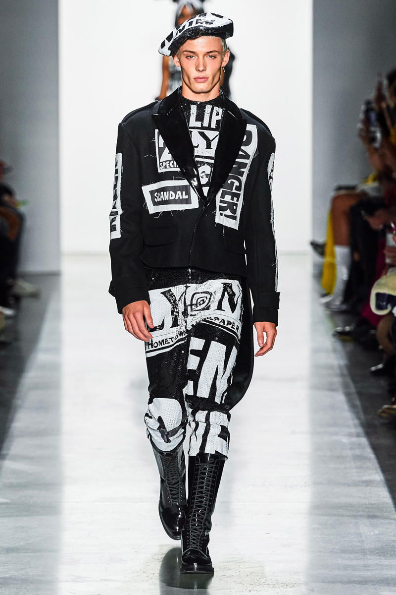 Jeremy Scott Unveils Headline-Inspired Fall 2019 Collection info runway images new york fashion week mens apparel ready to wear