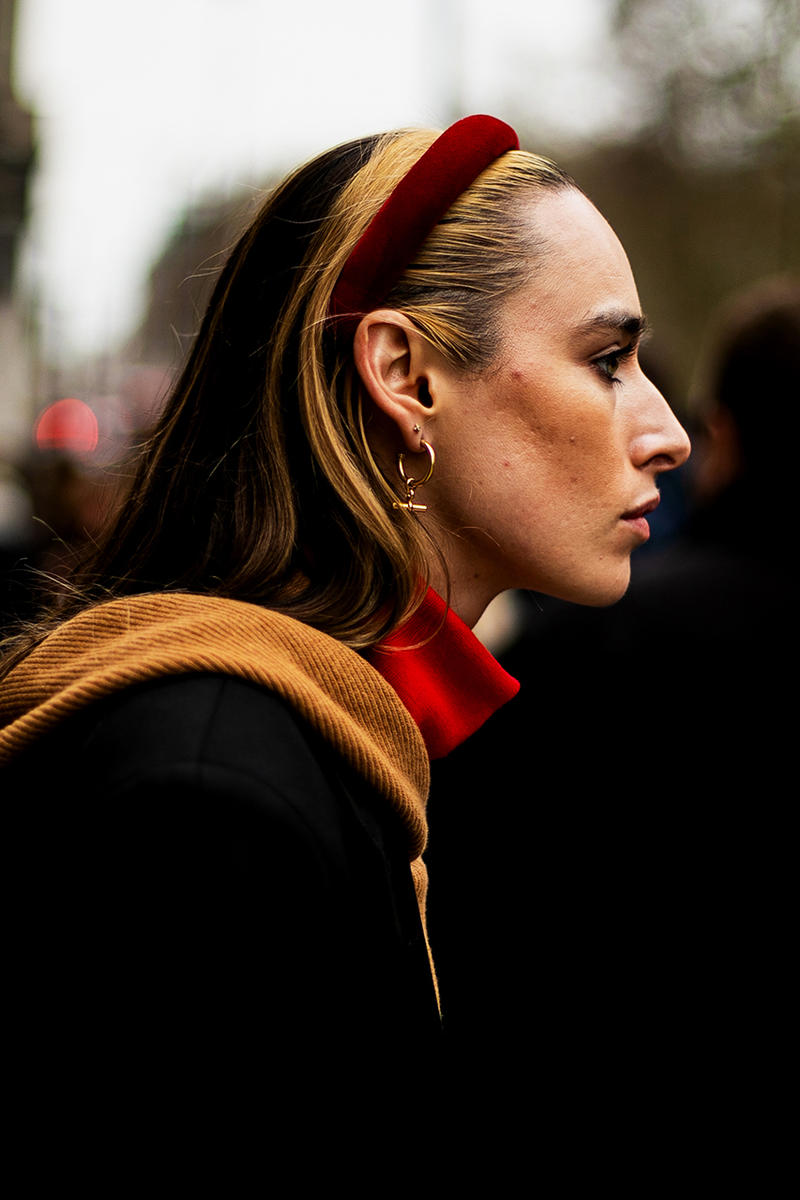 London Fashion Week Street Style FW19 Fall Winter 2019 Streetsnaps Fashion Clothing Cheyenne Maya Carty Victoria Secret Model VLTN White Boots Valentino Garavani Blazer Prada Scarf Bucket Hats Romeo Juliet Shorts Prada Milano Bag Jacket Puffer Jacket Jackets Coats Palace Skateboards Balaclava Accessories Earrings Necklaces Jewelry Aries Arise Layers Layered Clothing Off-White Virgil Abloh Sita Abellan Burberry Trench Coat JW Anderson Jonathan Ganni Chanel Skirt Waterproof Rain Gucci Balenciaga Comme Des Garçons SHIRT Versace Headband Jasper Conran Stripes Checks Striped Checkered Patterns