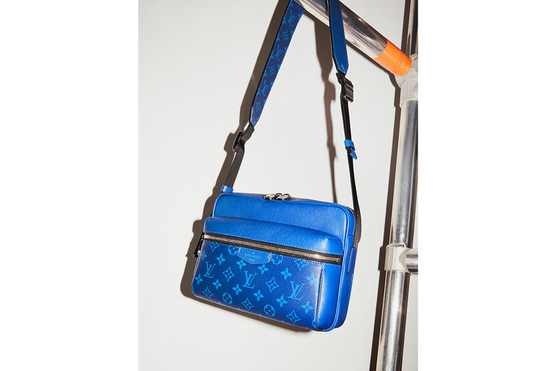 Louis Vuitton Debuts Taïgarama Leather Goods Line virgil abloh bags accessories lv blue yellow black white backpacks sidebags luggage