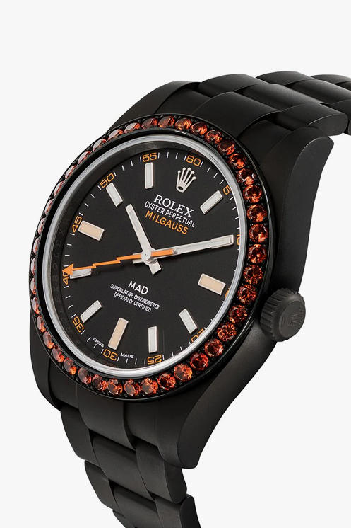 MAD Paris Rolex Milgauss Matte Black Steel Sapphire Embellishment Buy Cop Purchase Closer Look Details Release Information