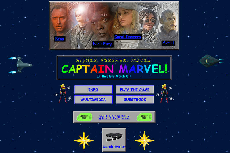 Marvel Studios Captain Marvel 90s Design Themed Website Carol Danvers Brie Larson Movie Release Samuel L Jackson