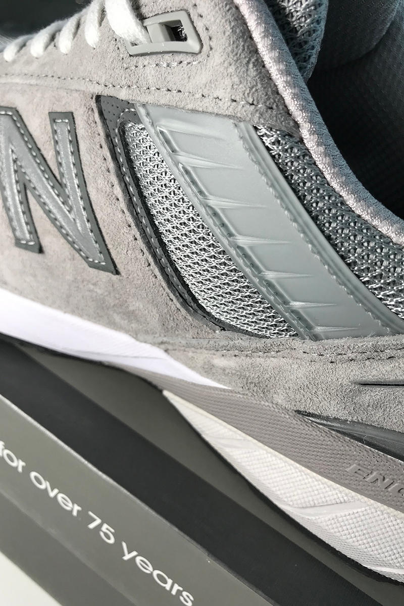 New Balance 990v5 First Look Closer Update 990 Sneaker Grey Suede Mesh Rubber Footwear Release Details