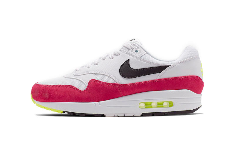 newest 6d340 87129 nike air max 1 rush pink volt white black 2019 april release date footwear  nike sportswear