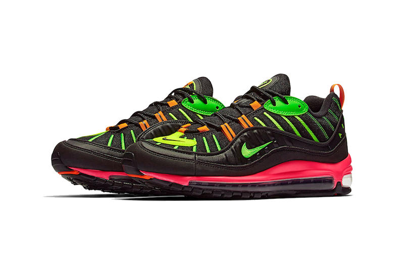 nike air max 98 neon black orange green pink 2019 february nike sportswear dootwear