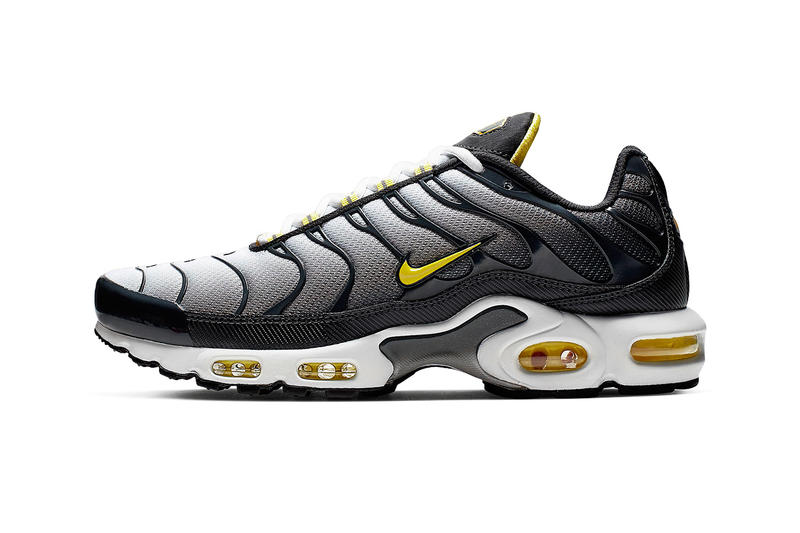 "Nike Electrifies Air Max Plus With ""Bumble Bee"" Colorway grey black yellow footwear release drop date images price info"