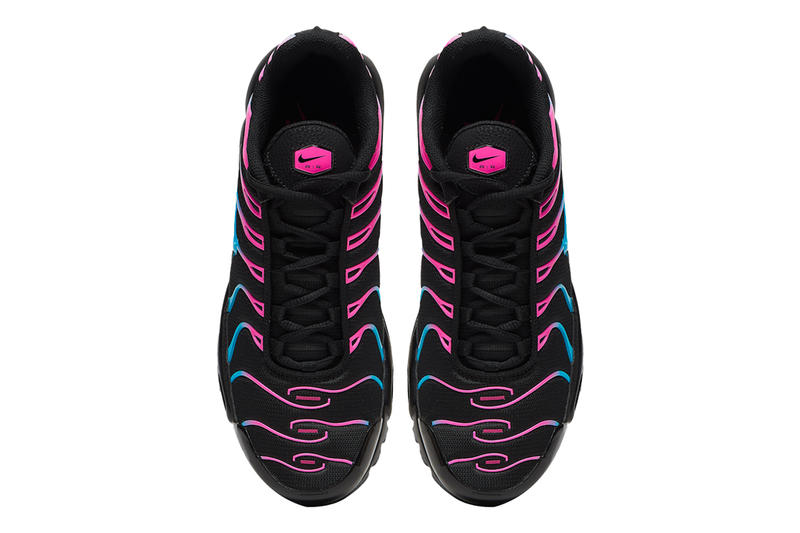 "Nike Air Max Plus Receives ""Miami Vice"" Treatment fuchsia light blue drop release date price images footwear info"